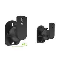 черные скобки оптовых-Mayitr 1Pair 45 Degree Rotatable Speaker Wall Mount Black Surround Sound Speaker Wall Brackets for Stand