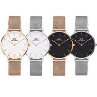 hommes décontractés achat en gros de-Top luxe marque en or rose montre à quartz 40mm et 36mm 32mm hommes occasionnels montre à quartz japonais en acier inoxydable Mesh avec horloge mince dames