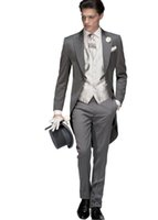 Wholesale grey custom made men suits for sale - Morning Style Dark Grey Tailcoat Groom Tuxedos Eiegant Men Wedding Wear High Quality Men Formal Prom Party Suit Jacket Pants Tie Vest