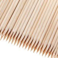 ingrosso sporgente della cuticola del bastone di legno arancione-All'ingrosso-100X Nail Art Orange Wood StickS Remover pusher Remover Nail Art Beauty Tool Nuovo tutto in legno chiodo spingere
