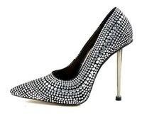 seksi kulüp pompa ayakkabıları toptan satış-Gümüş Çivili Perçinler 12 CM Yüksek Topuklu Ayakkabı Seksi Sivri Burun Gece Kulübü Kadın Ayakkabı Metal Topuklu Slip-On Kadınlar Pompalar