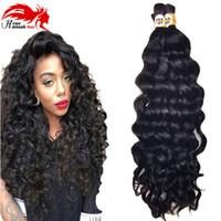 kıvırcık afro saç ürünleri toptan satış-Moğol Afro Derin Kıvırcık Dalga İnsan Örgü Saç Toplu 3 Adet 150 gram İnsan Remy Saç Örgü Toplu Hiçbir Eklenti Için Hannah ürün