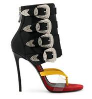 Wholesale thin strap open toe heels - 2018 Women Sexy Buckle Strap High Heels Sandals Summer Open Toe Women Gladiator Shoes Thin High Heel Boots Pumps Woman