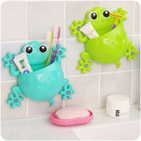 аксессуары для настенного монтажа оптовых-1pc Bathroom Accessories Cute Cartoon Gecko Design Toothbrush Holder Suction Organizer Toothbrush Holder Cup Wall Mount Sucker
