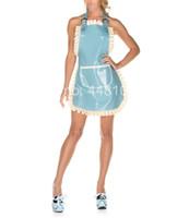 traje de látex azul venda por atacado-Handmade mulher Sexy azul e branco de látex aventais de borracha de látex trajes de empregada única