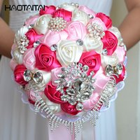 Discount pink flower brooches - Wedding Bouquets Hot Pink Royal Blue White Brooch Silk Rhinestone Artificial Rose Flowers Bridesmaid Mariage Bouquets