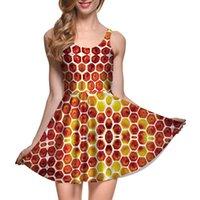 ingrosso ragazza di miele-NUOVO 1065 Plus size Summer Women Dress Bee Sweet Honey Honeycomb 3D Prints Reversibile Vest Skater Sexy Girl abito pieghettato