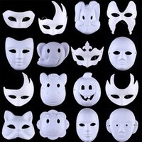 weiße maskenmalerei gesichter großhandel-Halloween Ball Weiß Handbemalt DIY Gesichtsmaske Umweltschutz Zellstoff Männer Frauen Tier Peking Oper Masken 1 1 sx bb