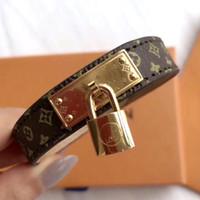 Wholesale locks for chains resale online - genuine leather bracelets with gold Lock accessories design for women L Titanium steel flower pattern bracelet brand same fashion jewelry