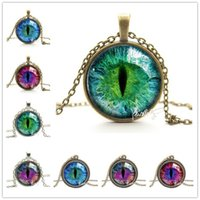 Wholesale Vintage Indian Necklace - choker 2018 Vintage Jewelry Wholesale Blue Green Cat Eye Necklace Pendant Fashion Charming Rhinestone Ethnic Necklace for Men Women