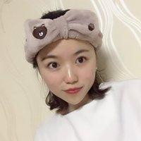 ingrosso marrone elastico-Fascia elastica dei capelli dell'orso dell'orso di coreano d'avanguardia Belle donne elastiche compongono la banda dei capelli del fronte della lavata del bagno