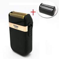 erkekler için berberler toptan satış-Kemei KM-2024 Elektrikli Tıraş Makinesi Erkekler için Twins Blade Su Geçirmez Pistonlu Akülü Jilet USB Şarjlı Tıraş Makinesi Ber ...