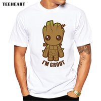 Wholesale Male Pop - Guardians Of The Galaxy 2 Men T -Shirt Anime Baby Pop Groot Summer Funny I Am Groot T Shirt Male Cool Tops Tees Homme Tshir La633
