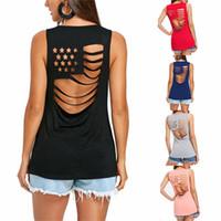Wholesale tank top scoop neck - Women Tank T shirt Summer American Flag Hollow Out Women O-Neck Short Top Sleeveless Female Vest