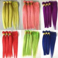 düz kırmızı saç uzantıları toptan satış-Saf Renk Brezilyalı İnsan Saç Paketler Dantel Kapatma Ile 4 adet Lot Düz Bakire Remy Saç Örgüleri Uzantıları Mavi Sarı Kırmızı Yeşil pembe
