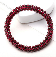 Wholesale ceramic stones for sterling resale online - Wine garnet multi Circle Bracelet Natural Garnet Stone Beads Bracelet Weave Elastic Bracelet Jewelry for women Inches