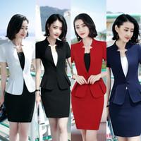frauen s weißer eleganter anzug großhandel-Frauen-dünner Overall-Geschäfts-Blazer-Rock stellt formale OL elegante Arbeits-Rock-Schwarz-weißes Rot-Blau S-4XL DK834F ein