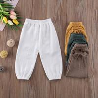 erkek beyaz harem pantolon toptan satış-Gevşek Retro Bebek Çocuk Harem Pantolon Kız Erkek Pamuk Buruşuk Bloomers Pantolon Legging Pantolon Yaz Sonbahar Sarı Beyaz