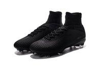 спортивная обувь оптовых-Полный Черный 100% Оригинальные Футбольные Бутсы Mercurial Superfly V FG Футбольные Бутсы Открытый Мужские Высокие Лодыжки Роналду Футбольные Бутсы