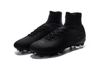Wholesale high ankle shoes men height for sale - Full Black Original Soccer Cleats Mercurial Superfly V FG Soccer Shoes Outdoor Mens High Ankle Ronaldo Football Boots