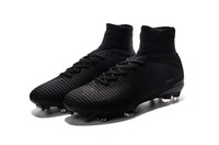 ronaldo açık hava futbol ayakkabıları toptan satış-Tam Siyah 100% Orijinal Futbol Profilli Mercurial Superfly V FG Futbol Ayakkabı Açık Mens Yüksek Ayak Bileği Ronaldo Futbol Çizmeler