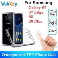 ultra ince s5 kılıf toptan satış-Yüksek Işık TPU Silikon Kılıf Samsung Galaxy S7 S8 S9 artı Not 8 Ultra Ince Şeffaf S5 S6 Kenar Telefon Arka Kapak