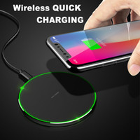 Wholesale Cordless Charging - Qi Wireless Charger Cordless Power Charging Pad LED Light Universal for iPhone X iPhone 8 Samsung Galaxy Note 8 S8 Plus