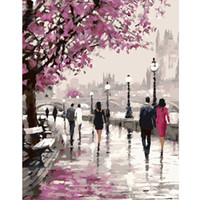 Wholesale Paint Number Kit Oils - Wholesale-Frameless Cherry Blossoms Road Diy Oil Painting By Numbers Kits Wall Art Picture Home Decor Acrylic Paint On Canvas For Artwork