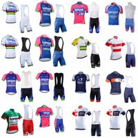 Wholesale lampre team clothes online - IAM LAMPRE team Cycling Short Sleeves jersey bib shorts sets Top quality men sports cycling clothing D1329
