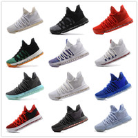 Wholesale Kd Shoes High Cut - 2017 KD 10 X Oreo Still Zoom KD10 Anniversary Men Basketball Shoes White Red Black High Quality Kevin Durant 10s Athletic Shoes Size 40-46