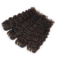 pelo negro brasileño al por mayor-Brazilian Off Black Color Deep Wave Bundles Deal Hair Weave Extensiones de cabello humano Remy de 10-30 pulgadas
