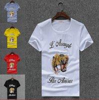 Wholesale black par - New Tide Brand Simple Fashion Luxury Designer Letter Print O-collar T-Shirts Tiger head Casual Short Sleeve For Men L Aveugle Par Amour