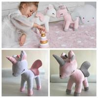 bebek kızı doğum günü hediyesi toptan satış-35 cm Unicorn Dolması Peluş Bebek oyuncakları Dolması at Hayvan oyuncaklar kızlar için Hediyeler unicorn karikatür hayvan bebek doğum günü hediyesi mevcut KKA4301