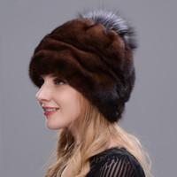 ingrosso cappello di pelliccia marrone-2018 New Style Winter Warm Hat Cappello tondo integrato Real con pelliccia di volpe Pompon Hand Making Woman Favorite Soft Brown
