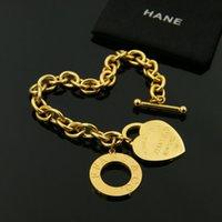 ingrosso ot gioielli d'oro-Nuovo acciaio di titanio moda cuore cerchio OT fibbia coppia spessa braccialetto 18 carati oro rosa a forma di cuore OT fibbia spessa anello braccialetto 18 cm gioielli