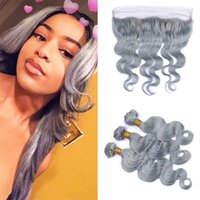 Wholesale Wholesale Gray Weaving Hair - Ear to Ear Frontal Closure and Grey Human Hair Bundles Body Wave Wavy Color Gray Malayian Virgin Hair Weaves with Full Lace Frontals