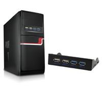 3,5 dahili toptan satış-Ön Panel USB 3.0 Hub Splitter için 4-Port USB HUB Dahili Ön Panel 3.5 Inç Disket Sürücü Bay Combo Braketi Adaptörü