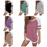 Wholesale matching top shorts - Women Striped Splicing Baseball Tshirt Summer Fashion Casual O Neck Loose Top Tee All Matched T Shirt Plus Size