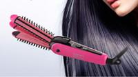 cabelo seco permanente venda por atacado-3 em 1 mini cabelo alisador permanente elétrica splint ionic hair curler