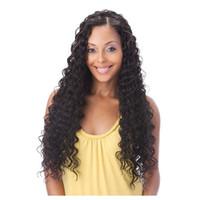 pelucas llenas del cordón de la india virgen al por mayor-Pre Plucked Full Lace Pelucas de cabello humano Cintura natural Virgin Indian Deep Wave Curly Hair Lace Front Wigs