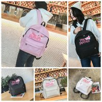Wholesale panther cover - Pink Panther Backpack Canvas Cartoon Backpacks Cute Mini Bag Women Girls Students School Bags 4 Colors 12pcs OOA4474