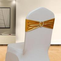 silber stuhl schärpen für die hochzeit großhandel-Metallisches Goldsilber Spandex-Lycra-Stuhl-Schärpen-Band-Stuhl-Abdeckungs-Schärpe-Hochzeitsfest-Stuhl-Dekor geben Verschiffen frei