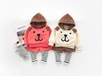 ingrosso set di pantaloni per neonati-New baby ragazzi e ragazze con cappuccio orso maglione orecchio falso due pantaloni tuta set di abbigliamento