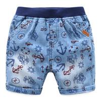 ropa de anclaje al por mayor-2018 Boy Denim Shorts Ropa para niños Sea rover Anchor Shorts de algodón para niño al por mayor Boutique clothing 2-7years
