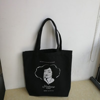 faeb1ab5edac 300pcs lot 36Hx37x10cm Black cotton canvas cotton carry tote bag with custom  print logo