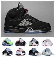 5s cuero genuino al por mayor-Nuevo Chaussures jordan retro 5 OG negro metalizado zapatillas de baloncesto para hombre Comercio mayorista de cuero genuino 5s zapatillas de deporte Eur 41-47 US 8-13