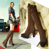 Wholesale Elastic Knee High Boots - New arrival women mid heel color block thigh high boots stretch long booties chunky heel over the knee boot