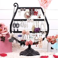 Wholesale Ring Holder Tree - Metal Earrings Organizer Cup Shape Earring Holder Jewelry Display Necklace Display Rack Earring Srorage Tree Classic A160-2