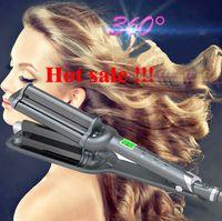 rizador de hierro tres al por mayor-Rodillos para el pelo Fashion Three pipe joint Ceramic Triple Barrels Curling Iron Deep Wave Curler Hair Waver