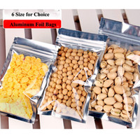 Wholesale nuts size - 6 Size Reusable Stand Up Plastic ZipLock Bags Clear Self-sealed Pouches Zipper Bags Aluminum Foil Retail Package for Candy Nut Biscuit Snack